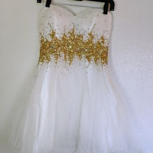 Cinderella Cocktail Dress - White with Gold Rhines